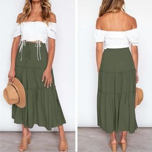 Boho Festival Gypsy High Waist Ruffle Maxi Skirt